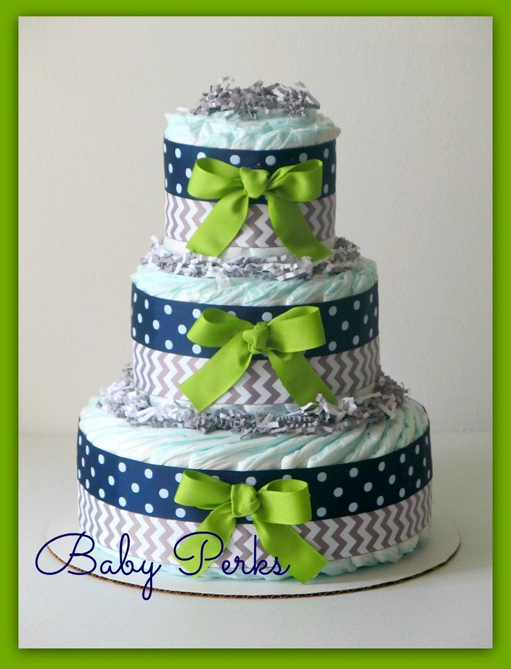 Navy Blue and Green Baby Shower Cake