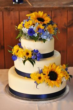 Navy Blue and Sunflower Wedding Cake