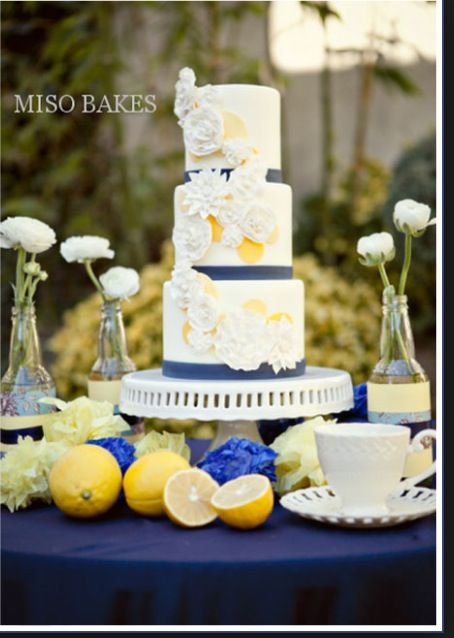 Navy Blue and Yellow Wedding Cake