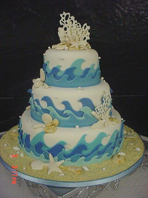 Ocean Beach Theme Wedding Cake