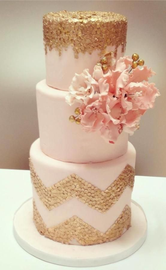 Pink and Gold Glitter Cake