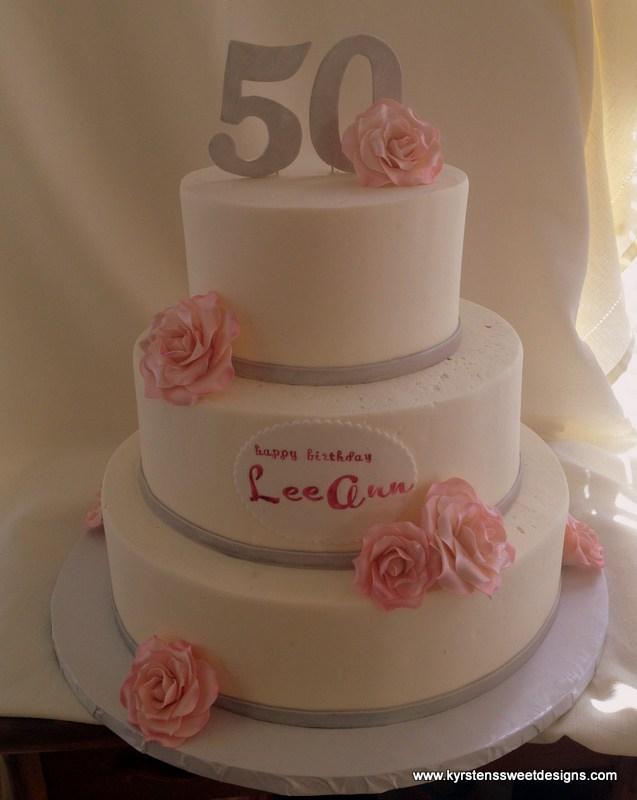 Pink and Silver 50th Birthday Cake