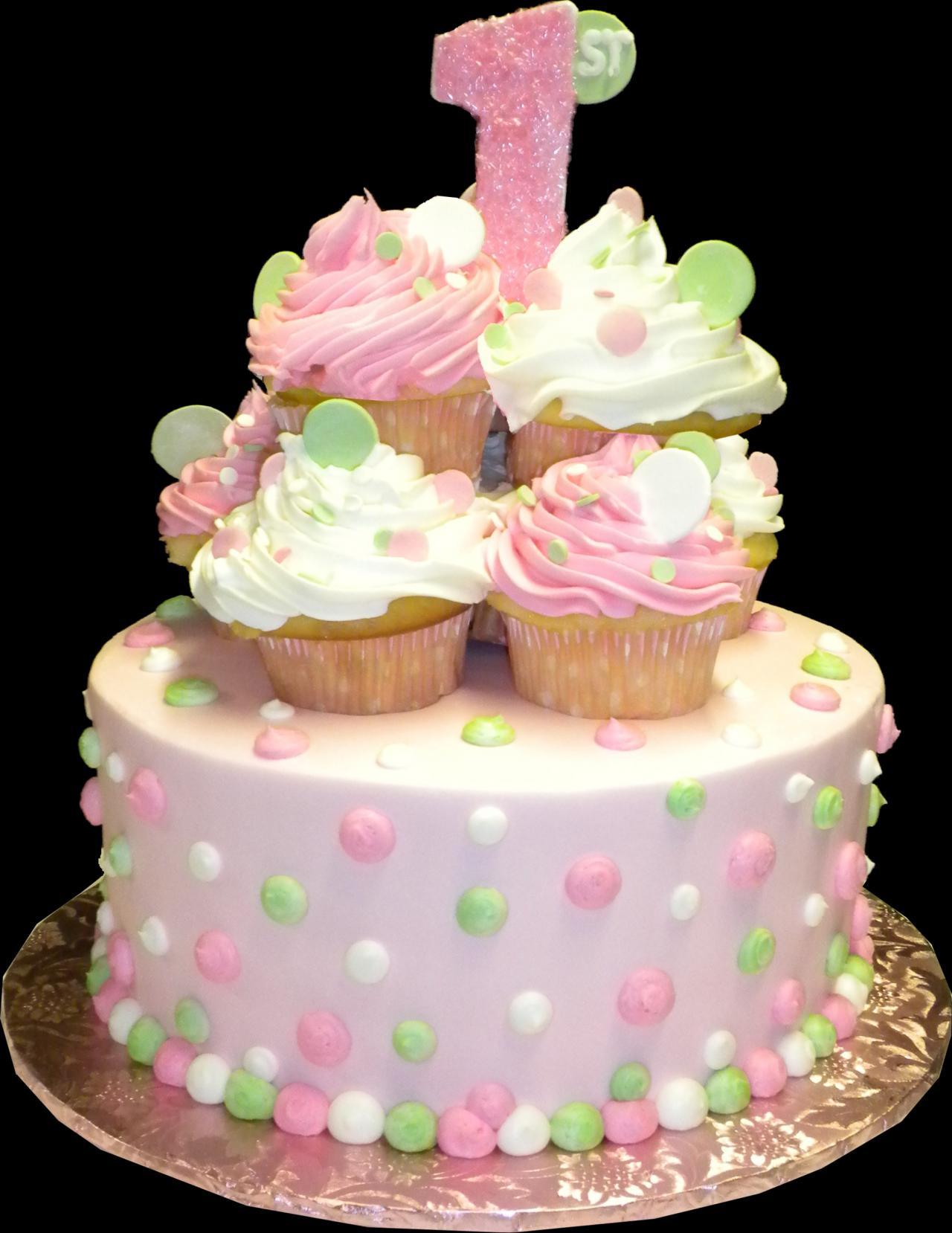 Pink and White Polka Dots Birthday Cake
