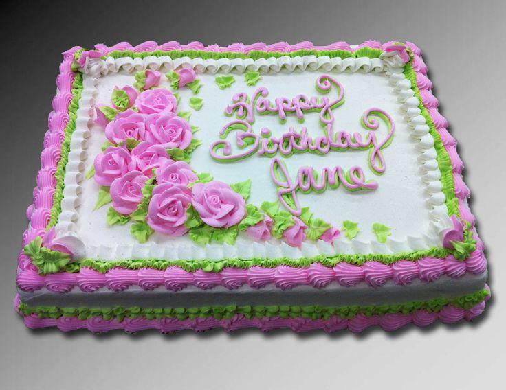 Pink Rose Birthday Sheet Cake