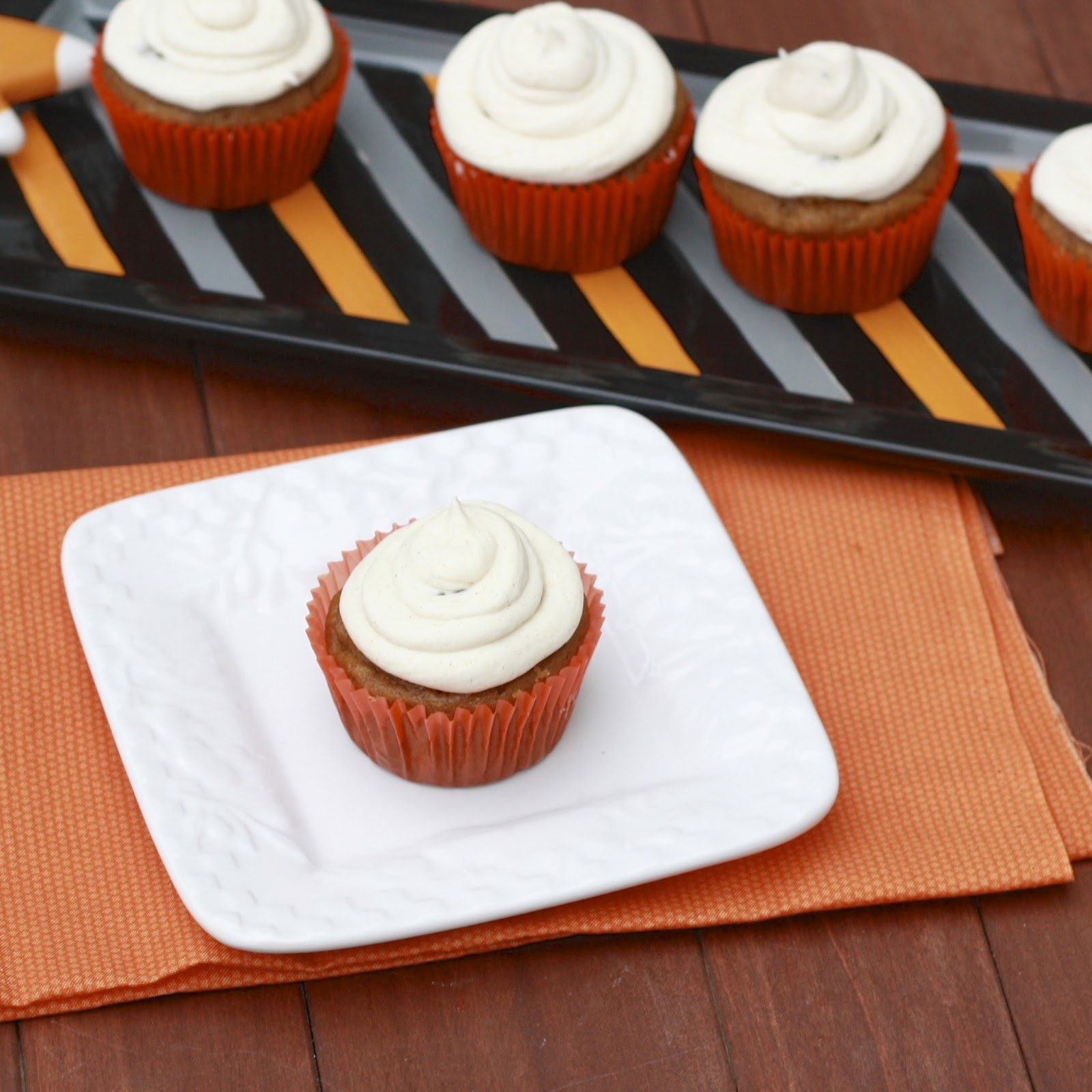 Pumpkin Cupcakes with Cream Cheese Filling