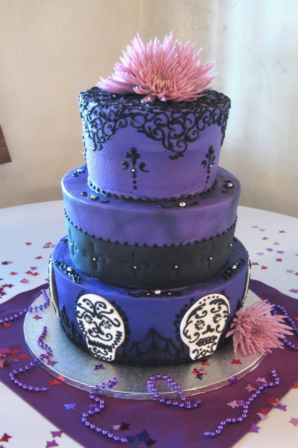 Purple and Black Gothic Wedding Cake