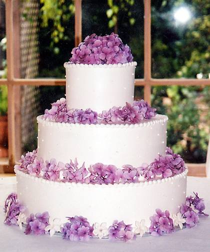 Purple Hydrangea Wedding Cake Flowers