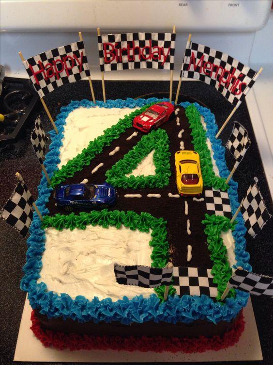 Race Car 4th Birthday Cake