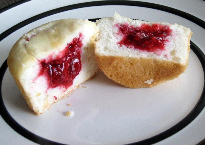Raspberry Filled Angel Food Cupcakes