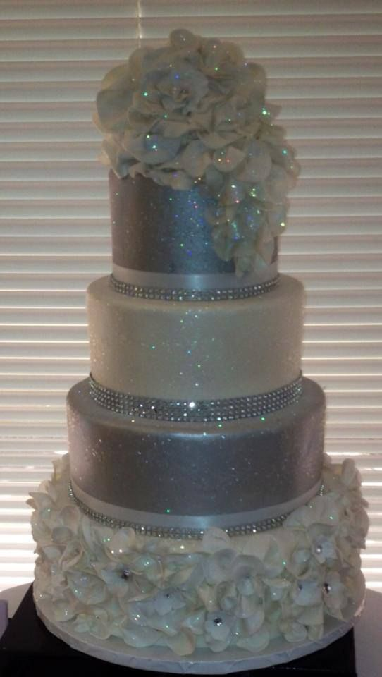 Silver Glitter Wedding Cake