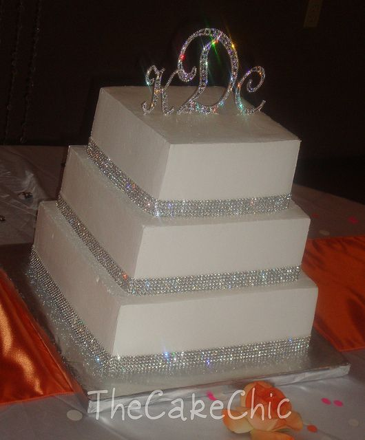 Square Wedding Cakes with Bling