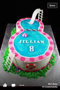 Swimming Pool Party Birthday Cake