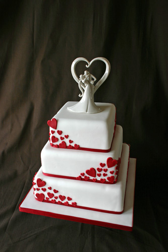 Valentine Red and White Wedding Cakes