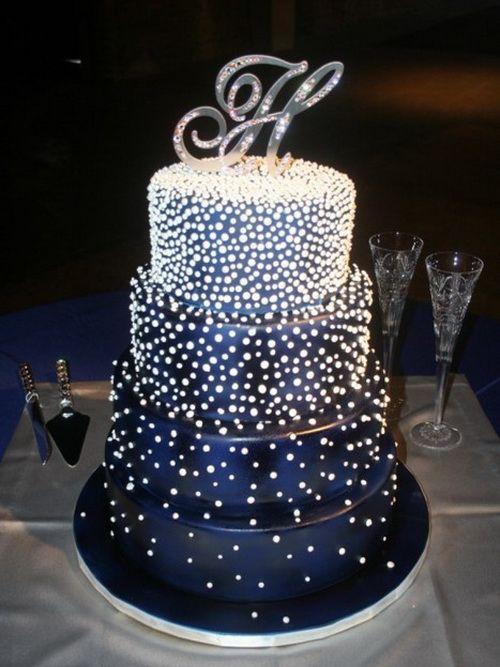 Wedding Cake with Dark Blue