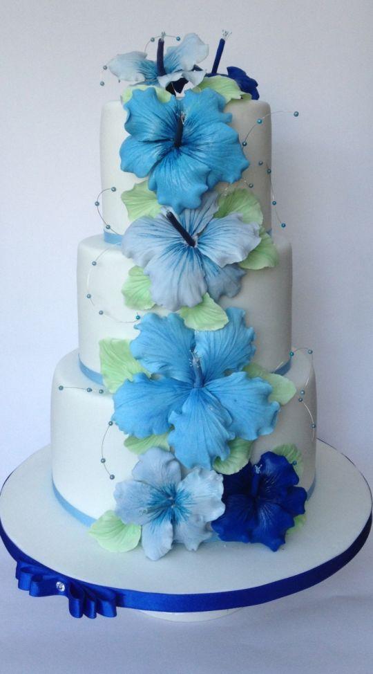 Wedding Cake with Hibiscus Flowers