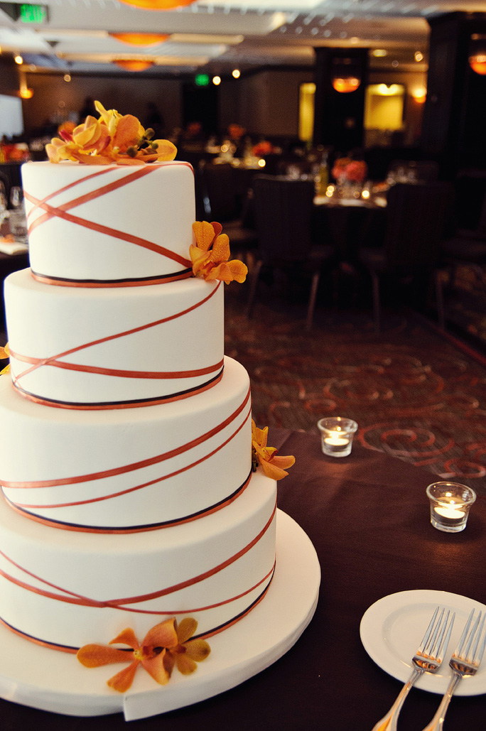 Wedding Cake with Orange Ribbon