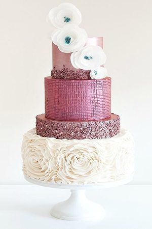 Wedding Cake with Pink Glitter