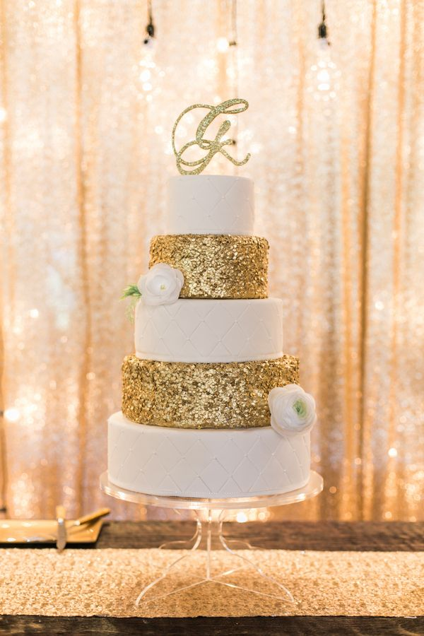 White and Gold Glitter Wedding Cake
