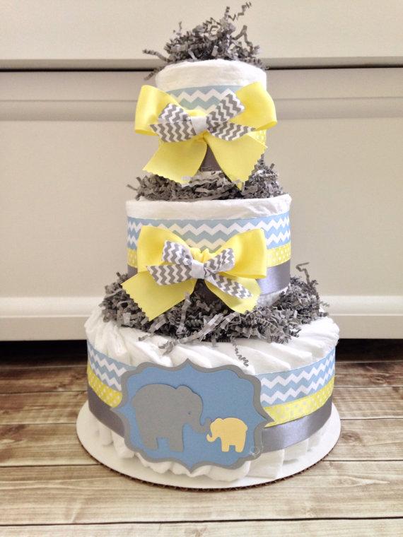 Yellow and Gray Elephant Diaper Cake