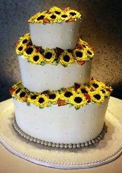 Yellow Sunflower Wedding Cake