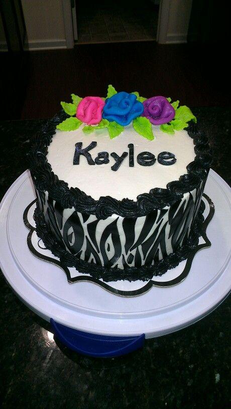 Zebra Print Buttercream Birthday Cake