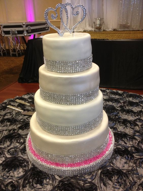 2 Tier Wedding Cakes with Bling