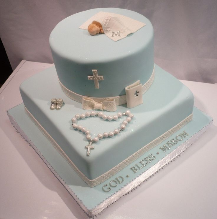Baby Boy Baptism Cross Cake