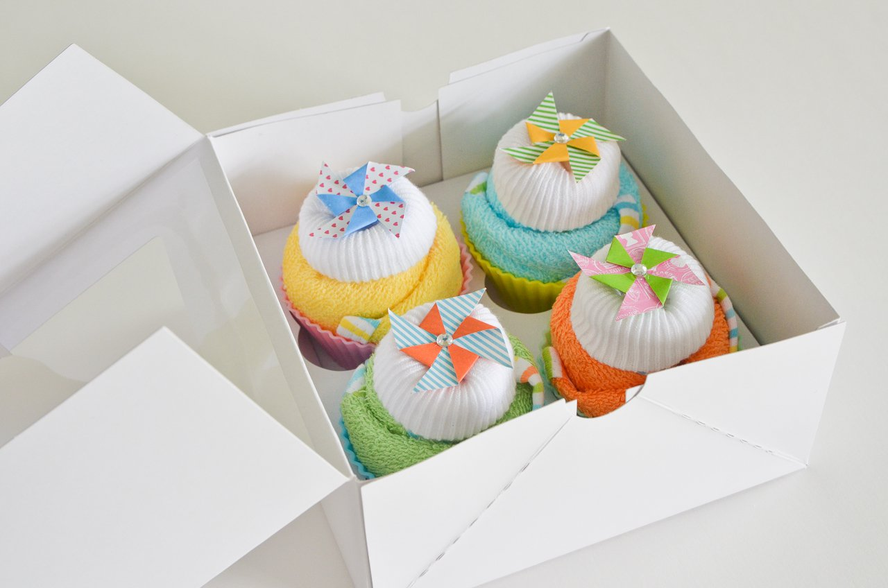 Baby Shower Washcloth Cupcakes