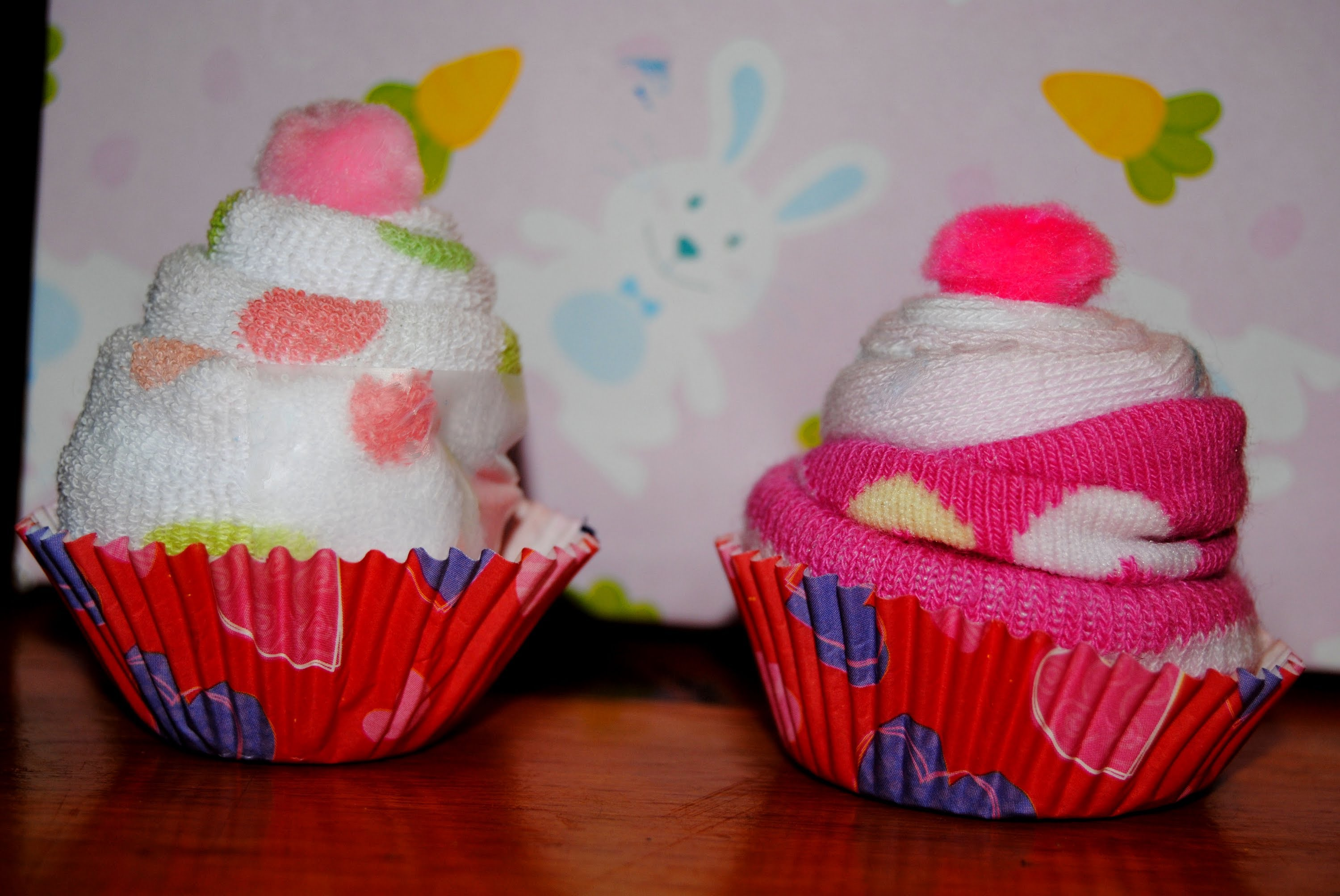 Baby Wash Cloth and Sock Cupcakes