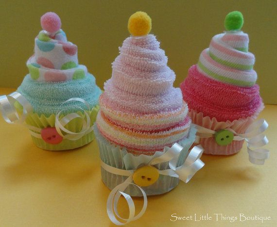 Baby Washcloth Cupcakes