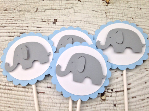 Blue and Gray Elephant Baby Shower