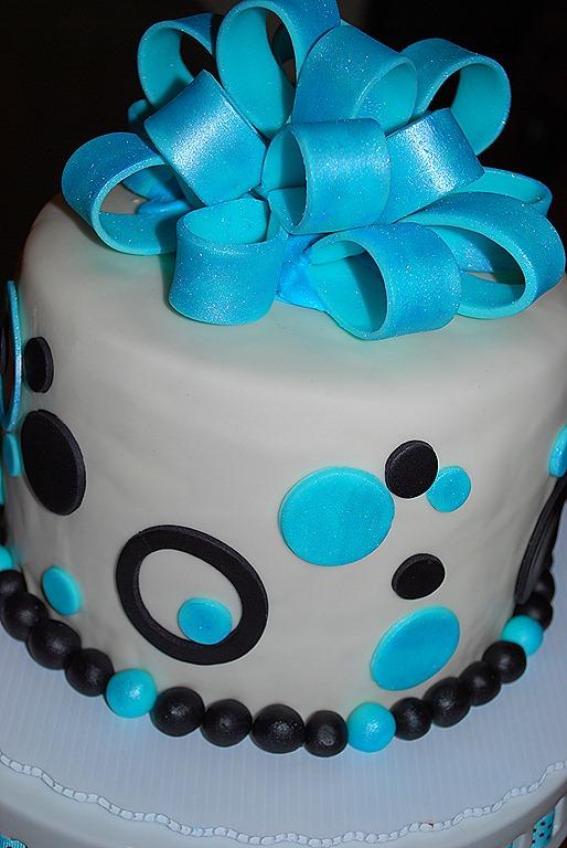 Blue Fondant Bow Cake