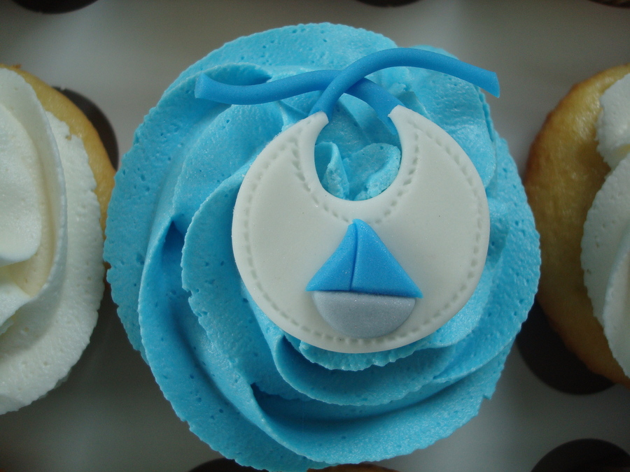 Blue Gray Baby Shower Cupcakes