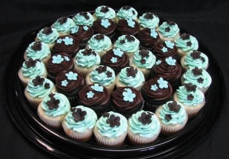 Brown and Teal Wedding Cupcakes