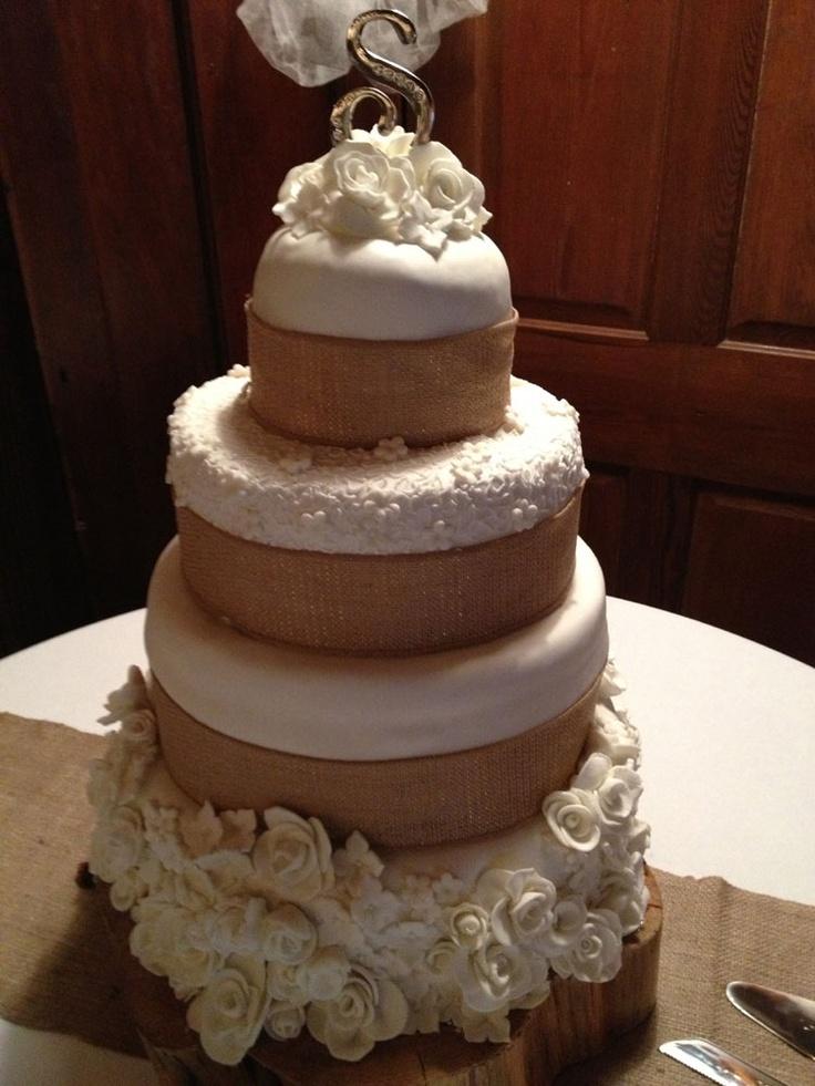Burlap Wedding Cake and Fondant