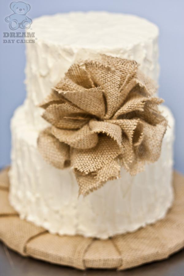Burlap Wedding Cake with Flower