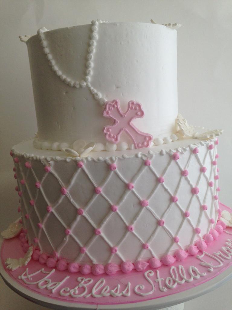 Catholic Baptism Cake with Rosary