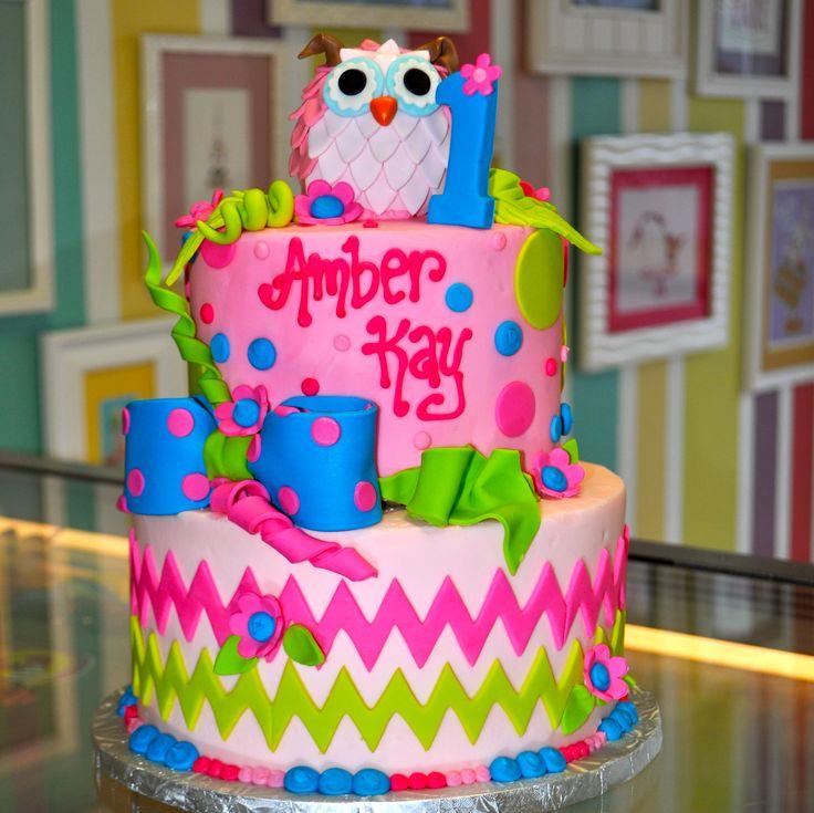 Chevron and Polka Dot Birthday Cake