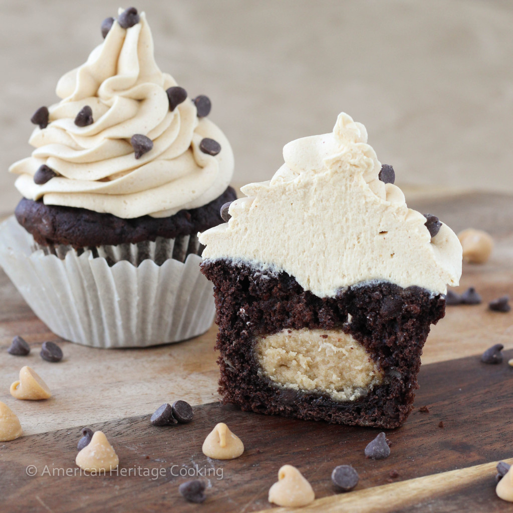 6 Photos of Double Dark Chocolate Cupcakes With Peanut Butter Filling