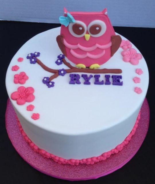 Girly Owl Birthday Cake