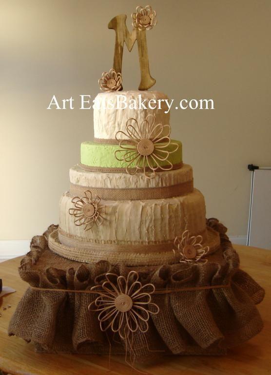 Green and Burlap Wedding Cake