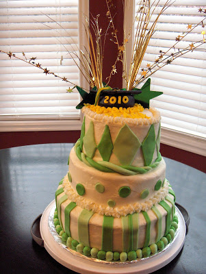 Green and Gold Graduation Cake