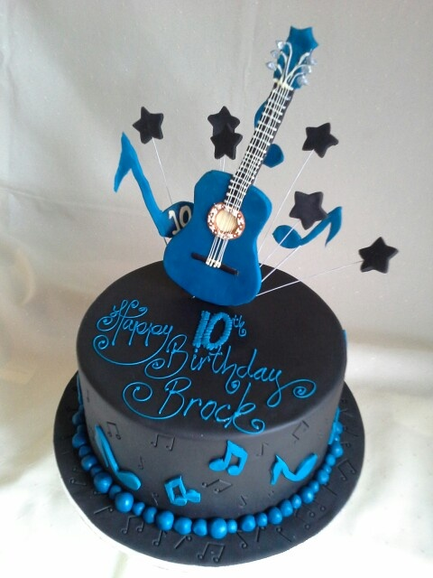 Guitar Music Themed Birthday Cakes
