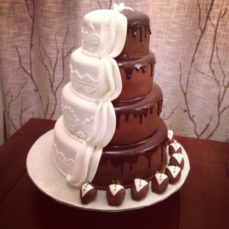 Half Chocolate Covered Strawberry Wedding Cake