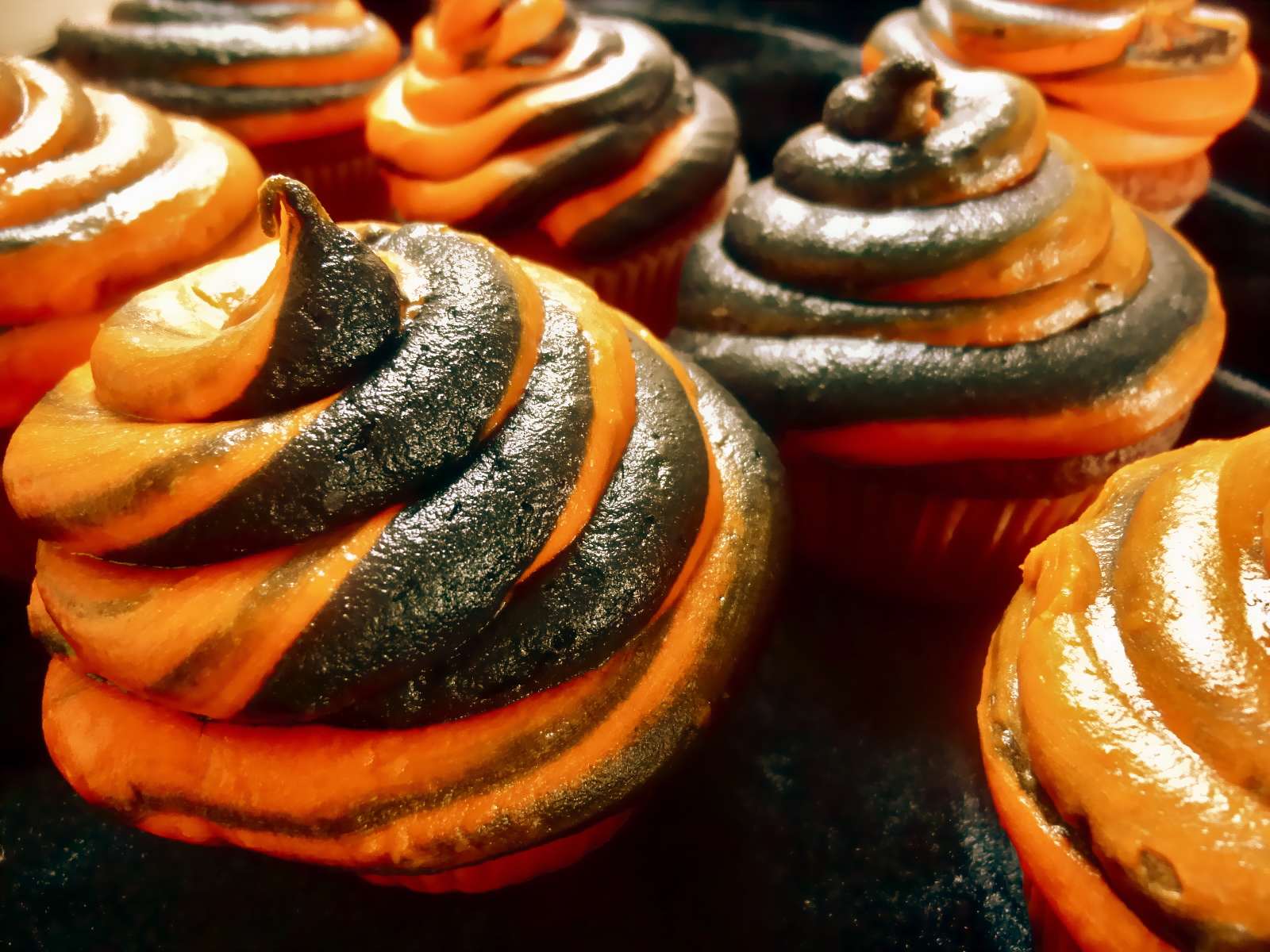 Halloween Cupcakes with Orange Frosting