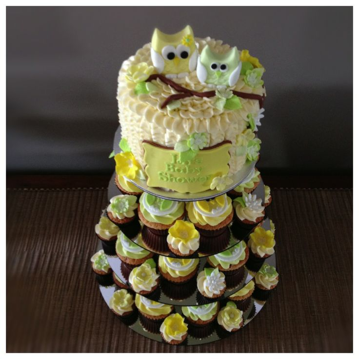 Owl Baby Shower Cake and Cupcakes