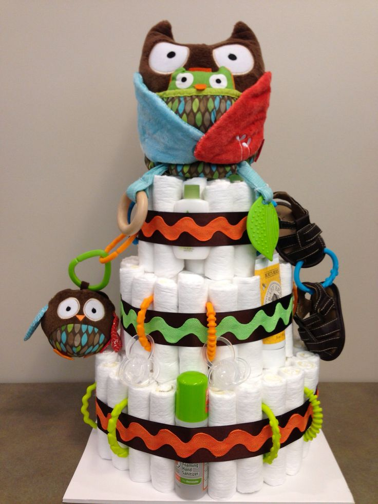 Owl Themed Diaper Cake