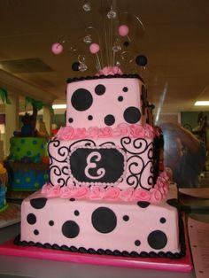 Pink and Black Girly Birthday Cake