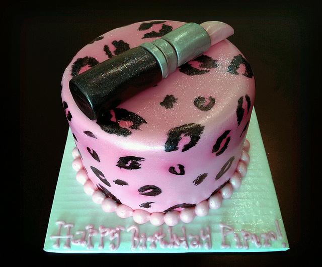 Pink and Cheetah Print Birthday Cake