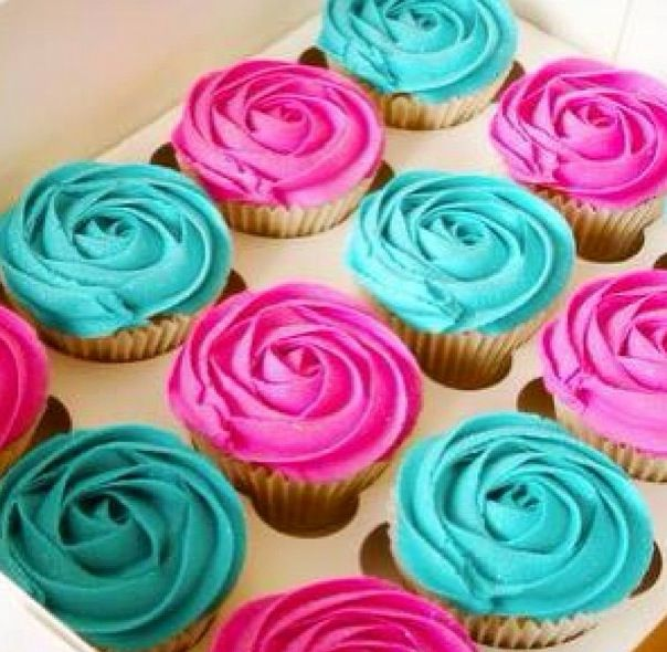 Pink and Teal Cupcakes